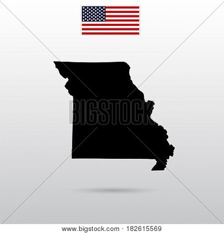 Map of the U.S. state of Missouri. American flag