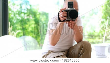 Photographer taking picture in luxuary villa