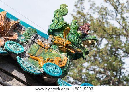 Shanxi, China -  Sept 13 2015: Roof At Dou Dafu Ancestral Temple(doudafuci). A Famous Historic Site