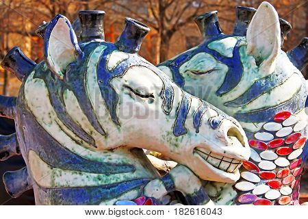 KYIV, UKRAINE - MARCH 18, 2012: Kissing zebras fountain by the sculptor Constantin Skretutsky at Pejzazhna alley the famous children's park in Kyiv, Ukraine