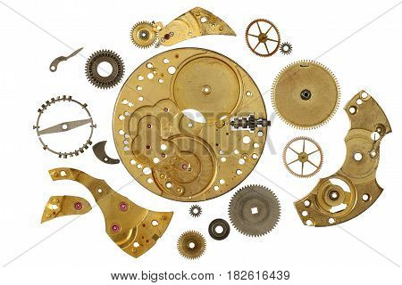 Disassembled clockwork mechanism - various part of clockwork mechanism on white background