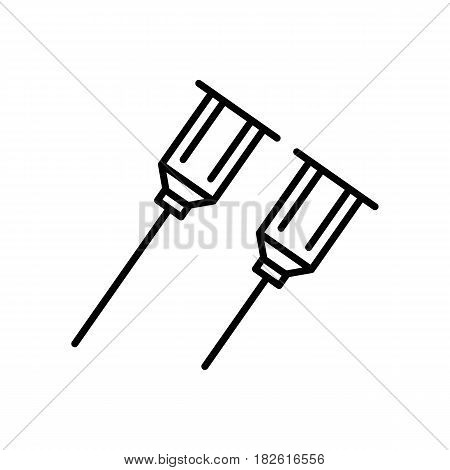 needle icon or button in linear style. needle vector icon isolated on white background. Eps 10