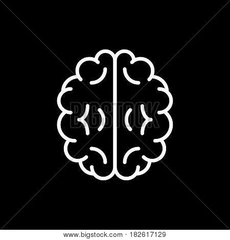 Vector outline illustration of human brain on black background. Eps 10