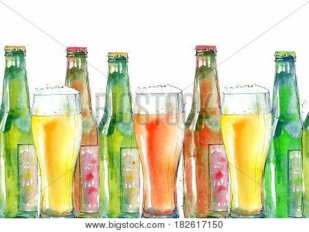 Seamless border of a beer and glass. Painting of a alcohol drink .Watercolor hand drawn illustration.White background.