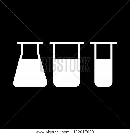 Chemistry vector icon. Lab symbol on black background. Eps 10