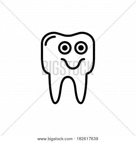 Outline smile tooth icon vector illustration on white background. eps 10