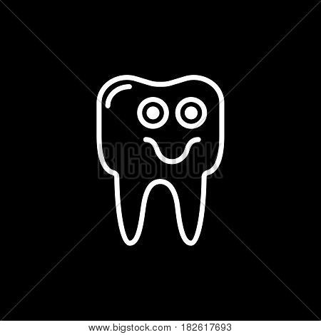 Outline smile tooth icon vector illustration on black background. eps 10