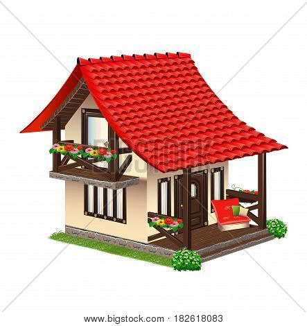 Cozy house with red tiles. Vector illustration.