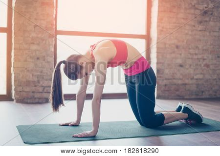 Young Sportwoman With Ponny Tale Is Doing Her Training For Flexibility. She Is Stylish Sports Wear,