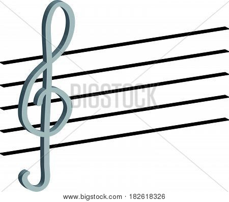 3d treble clefand warp on white background.Vector Illustration.