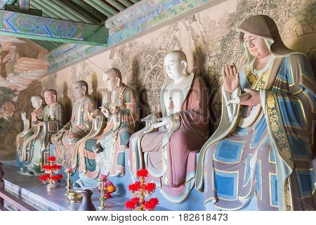 Shanxi, China -  Sept 25 2015: Budda Statues At Huayan Temple. A Famous Historic Site In Datog, Shan