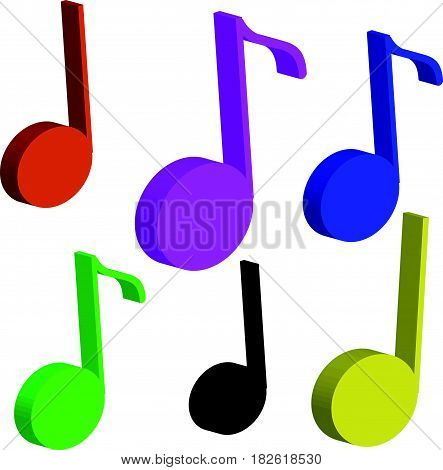 3D color notes isolated on white background. Music. Vector illustration.