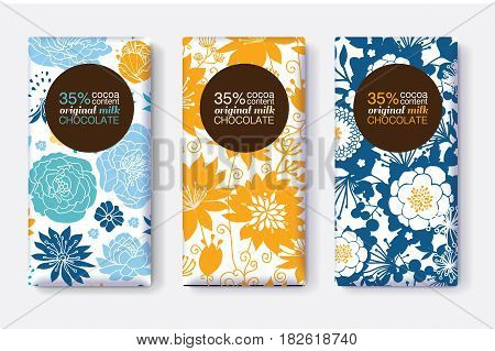 Vector Set Of Chocolate Bar Package Designs With Yellow Blue Pastel Floral Patterns. Circle frame. Editable Packaging Template Collection. Packaging and Surface pattern design.