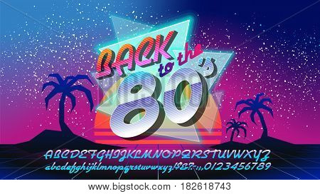 Back to the 80's. Retro elements Colorful background. Eighties vector graphic poster and banner. Fashion style graphic template. Easy editable for Your design.