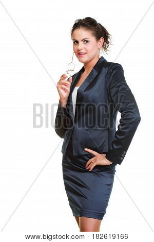 Modern business woman smiling and looking portrait isolated on white background.