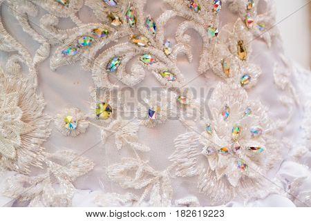 Luxury wedding background wedding dress fabric with pearls