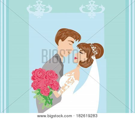 romantic happy wedding couple , vector illustration