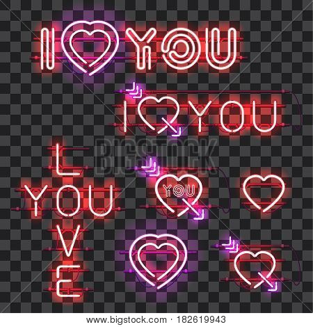 Set of glowing neon signs I LOVE YOU with holders, brackets and wires isolated on transparent background. Shining and glowing neon effect. Valentines heart. Love and wedding symbol.