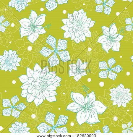 Vector tropical green blue flowers seamless repeat pattern background design. Great for summer party invitations, fabric, wallpaper, giftwrap paper. Surface pattern design.