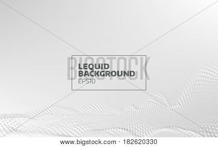 Abstract liquid motion vector background. 3d particle flow banner. Minimal design