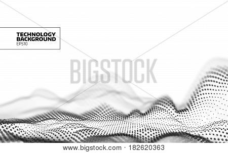 Technology vector background. Data flow. Particles grid. Cyberspace landscape banner