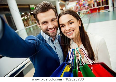 It's Shopping Time With  Sales And Fun. Cute Selfie Portrait Of Cheerful  Successful Happy Young Lov
