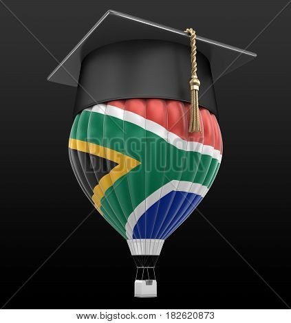 3d Illustration. Hot Air Balloon with flag of South African republic and Graduation cap. Image with clipping path