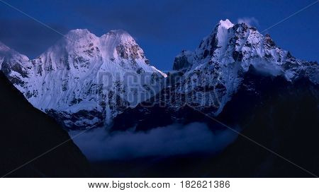 Beautiful nightscape of the Himalaya Mountains on the Kangchenjunga trek Nepal