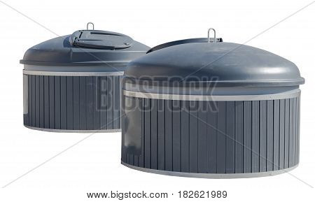 big garbage containers on a white background