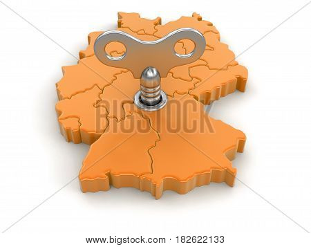 3d Illustration. Map of Germany with winding key. Image with clipping path.