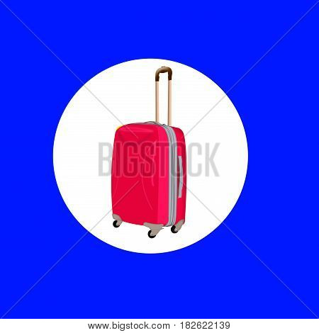 red suitcase on wheels. a suitcase with a handle. the icon with a suitcase. Briefcase, bag, valise,