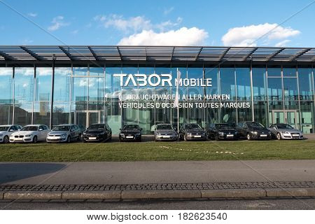 KEHL GERMANY - FEB 3 2017: German car auto dealer Tabor in central Kehl with multiple Audi Wolkswagen BMW Mercedes-Benz and other brands for sale