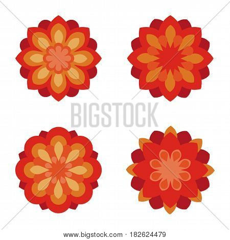 Flat flower symbols set. Icon set. Vector illustration