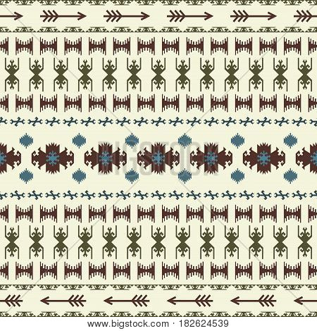 Native American Indian seamless pattern ethnic traditional geometric art with retro vintage design elements and arrows Aztec Inca Navajo tribal style vector illustration background beige green brown