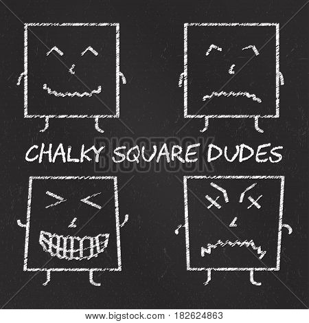 Set of chalk emoticons, blackboard backgound, chalky square dudes. Emoji elements.