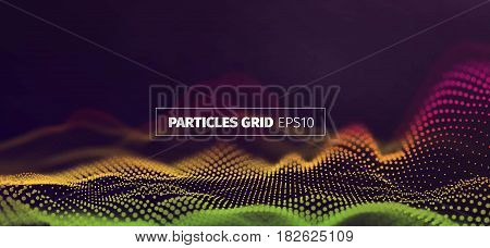 Futuristic infographics. Wavy particles grid. Sound wave flow banner