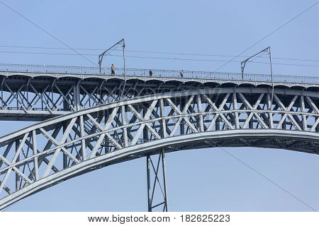 PORTO, PORTUGAL - APRIL 17: Dom Luis Bridge, Ponte Luis I in Porto, Portugal on April 17, 2017.