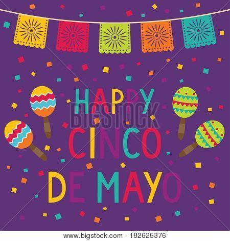 Cinco de Mayo card with maracas and confetti