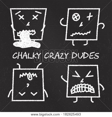 Set of chalk emoticons, blackboard backgound, chalky crazy square dudes. Emoji elements.