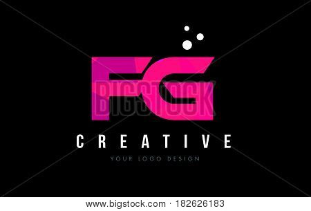 Fg F G Letter Logo With Purple Low Poly Pink Triangles Concept