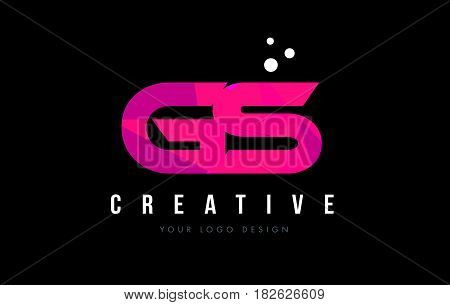 Gs G S Letter Logo With Purple Low Poly Pink Triangles Concept