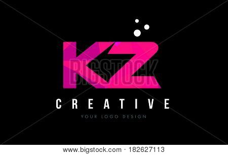 Kz K Z Letter Logo With Purple Low Poly Pink Triangles Concept