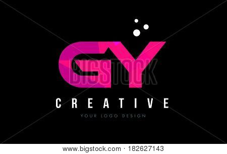 Gy G Y Letter Logo With Purple Low Poly Pink Triangles Concept