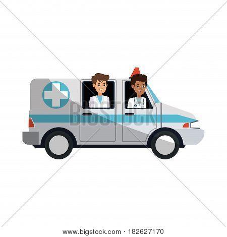 ambulance vehicle icon over white background. colorful design. vector illustration