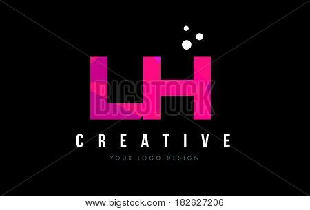 Lh L H Letter Logo With Purple Low Poly Pink Triangles Concept
