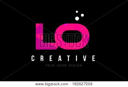 Lo L O Letter Logo With Purple Low Poly Pink Triangles Concept