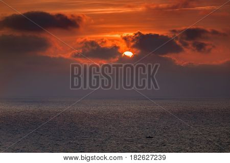 beautiful sunrise at sea. The Tyrrhenian Sea Italy