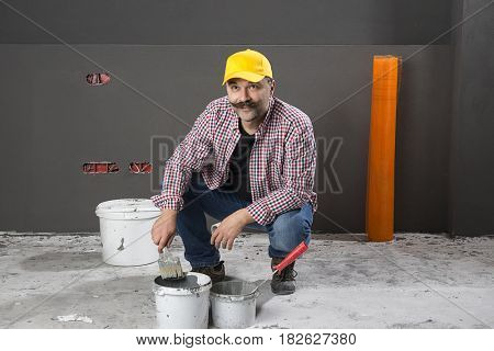 Adult Painter with Paintbrush