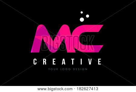 Mc M C Letter Logo With Purple Low Poly Pink Triangles Concept