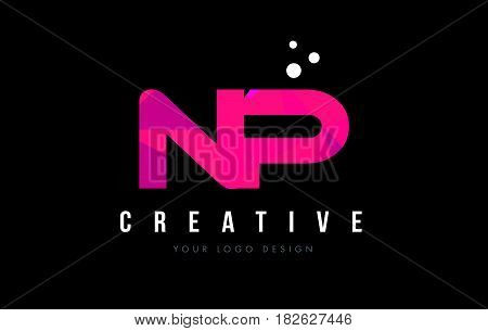 Np N P Letter Logo With Purple Low Poly Pink Triangles Concept